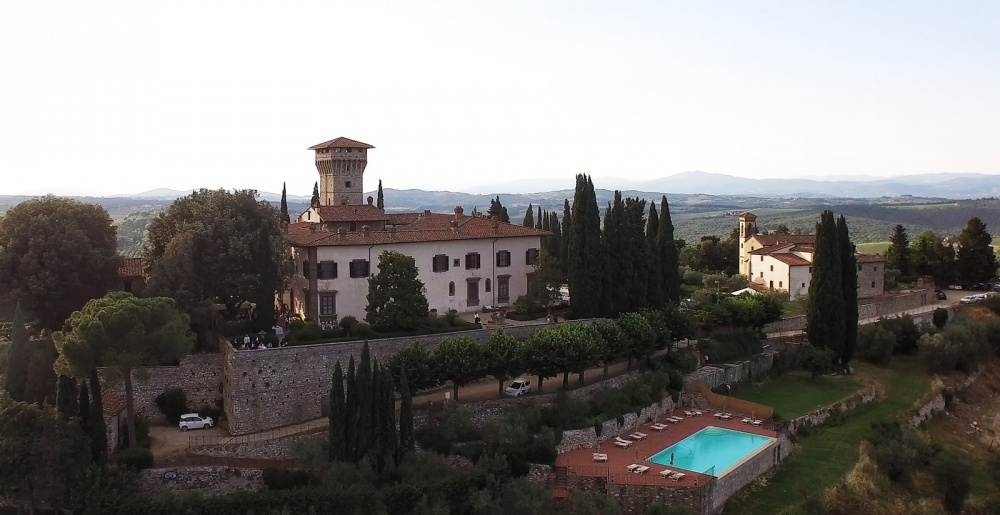 aerial view of a castle for wedding in chianti tuscany