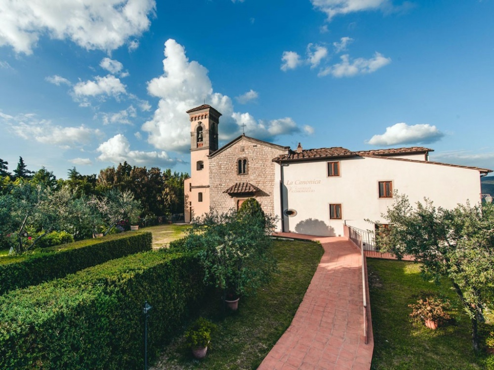wedding castle with church in chianti tuscany