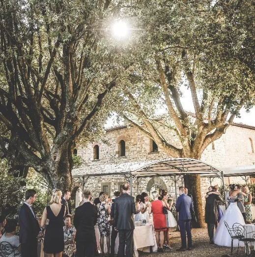 wedding cocktail reception in a castle in chianti tuscany
