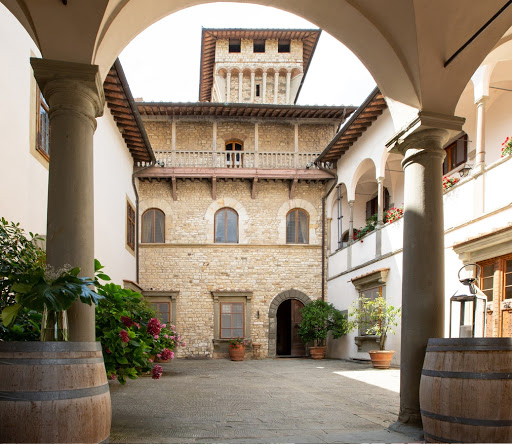 courtyard for wedding reception in a castle in chianti tuscany