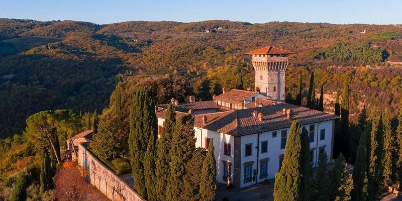 wedding castle with tower in chianti tuscany