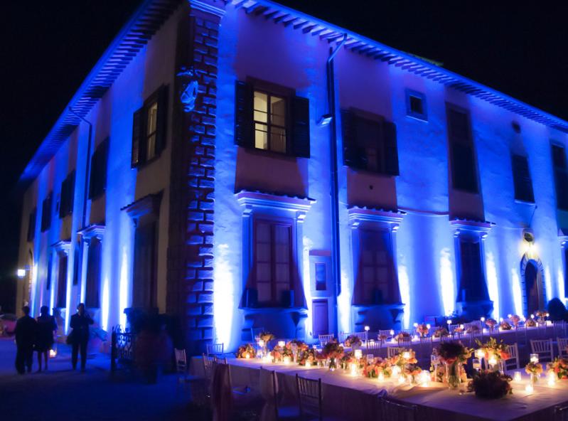wedding dinner lights in a castle in chianti