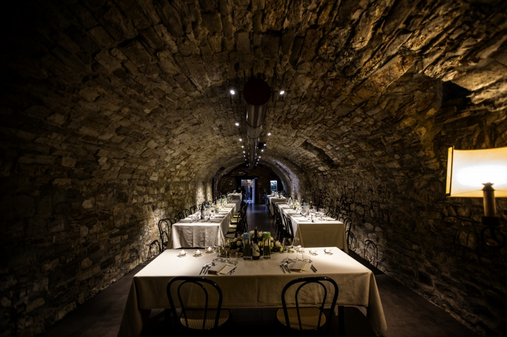 historical cellar view in a wedding castle