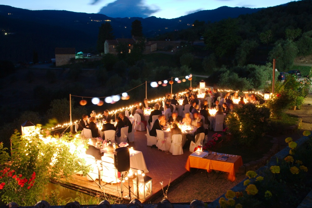 terrace view in a wedding castle in Florence