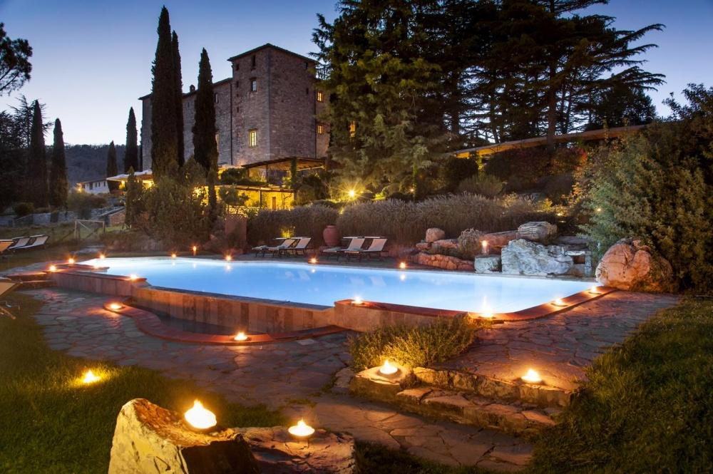 pool area in a wedding castle