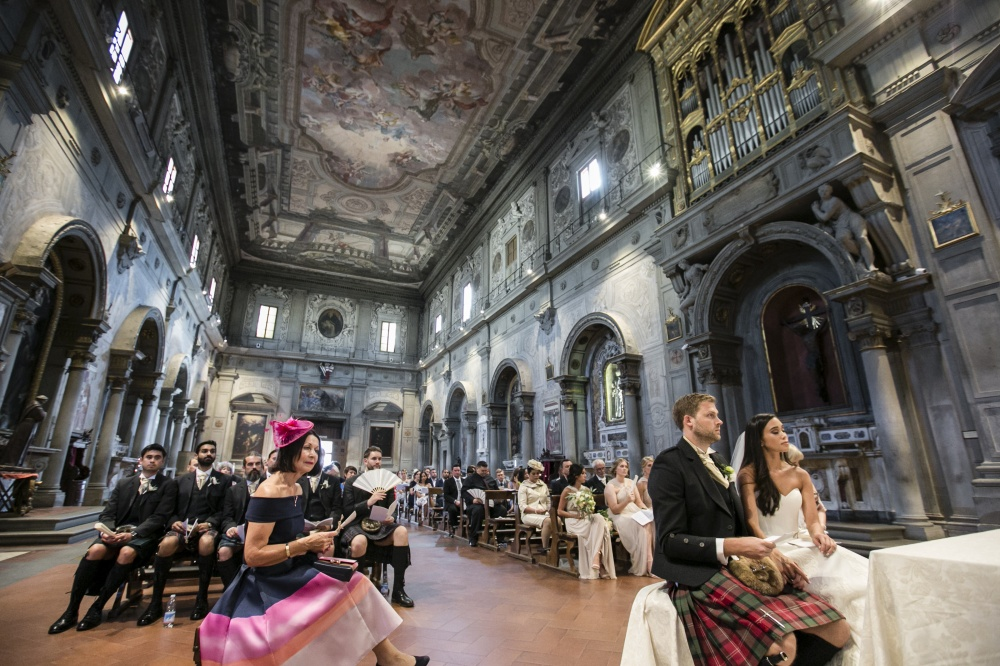 wedding ceremony in a church in florence
