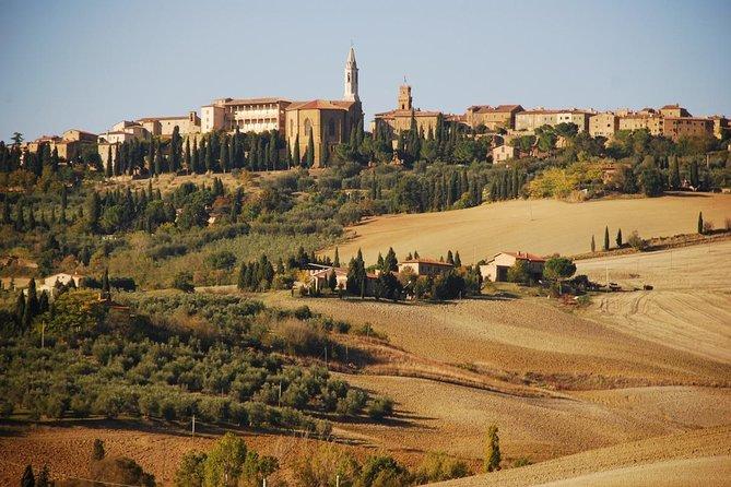aerial vie of montalcino city center for wedding ceremony