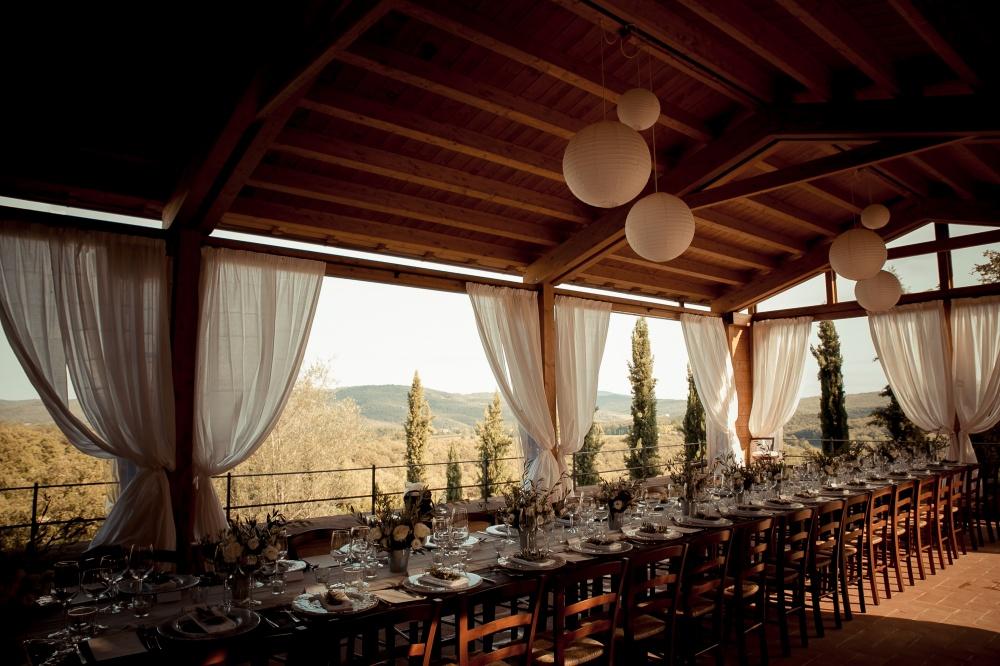 indoor restaurant for wedding in a hamlet in siena