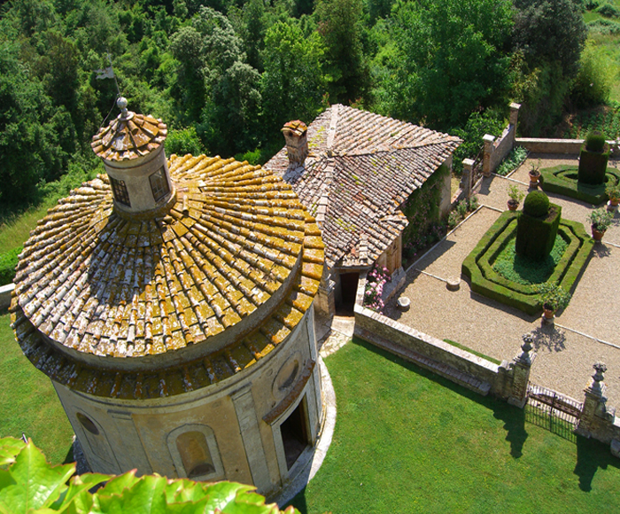 aerial view from the tower of a luxury castle for wedding in siena