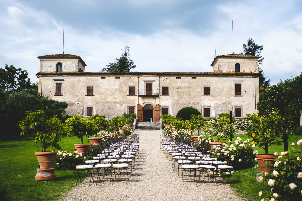 wedding ceremony setting in a venue in florence