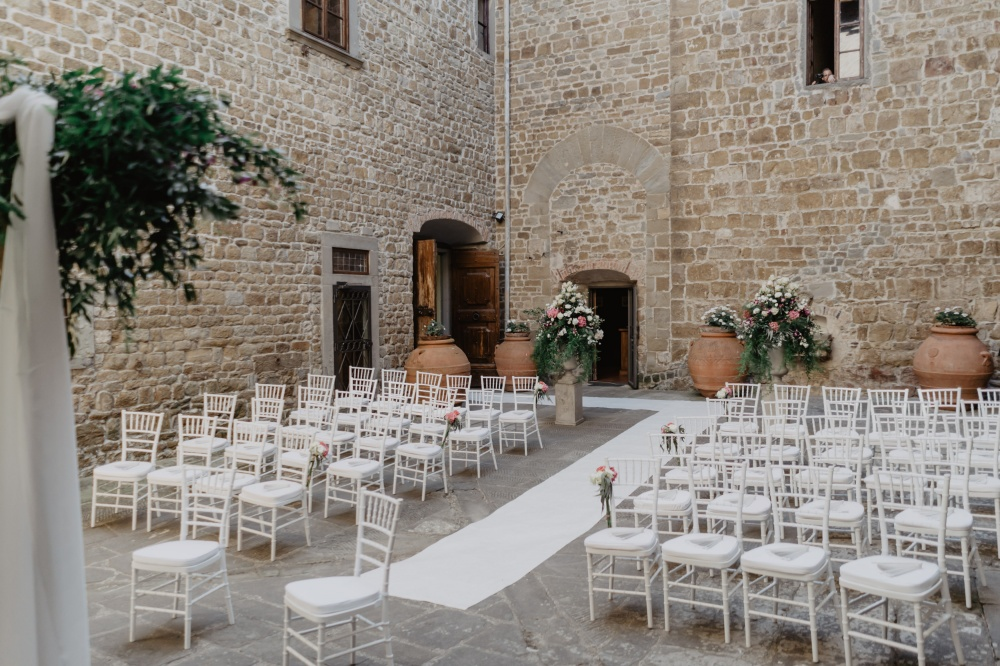 ceremony in a courtyard in a villa in florence
