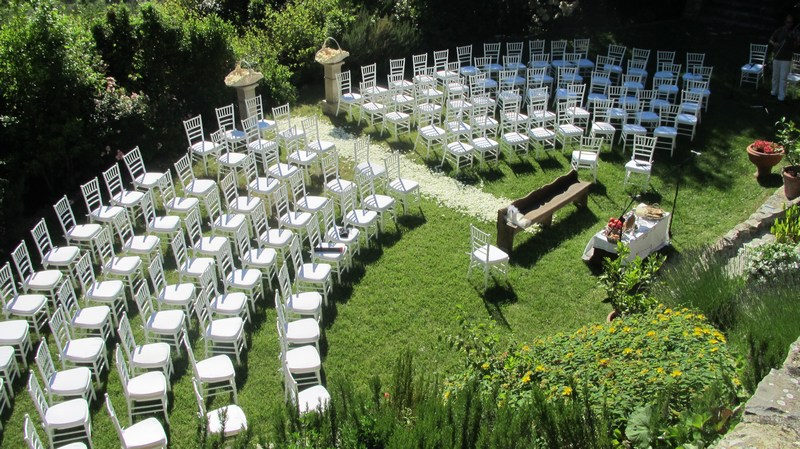 ceremony setting in a garden of a wedding villa in florence