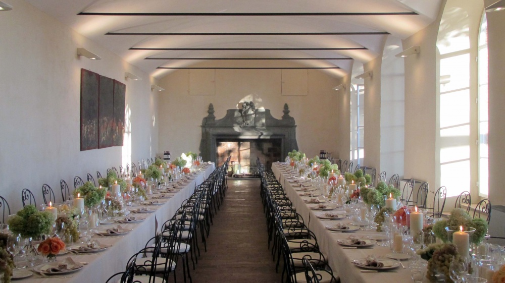 indoor dinner setting in a wedding villa in florence