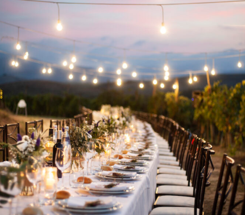 Wedding reception in Pisa with candle lights with vineyards view