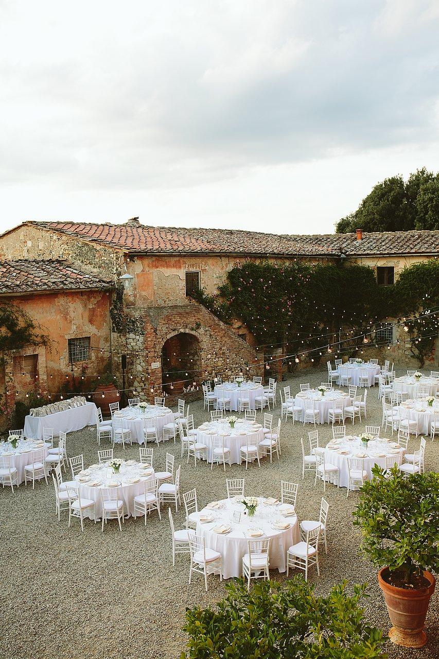 wedding dinner setting in a villa in siena