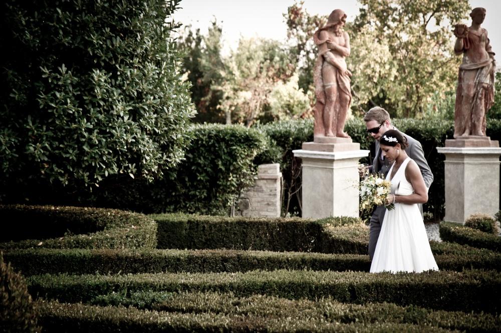 italian garden in a wedding villa in siena