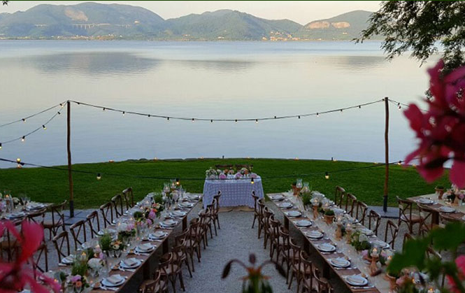 wedding dinner in a villa with lake view