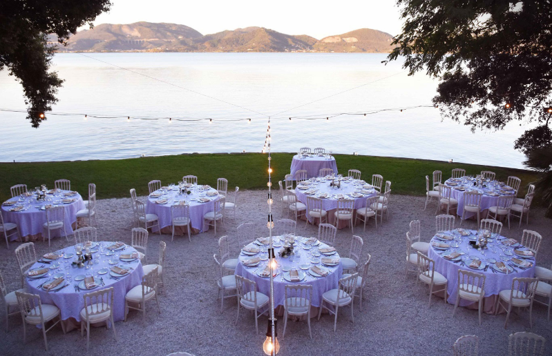 wedding dinner in a villa on the lake