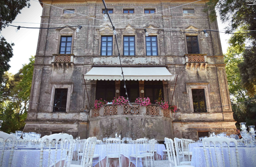 wedding setting in a villa on the lake