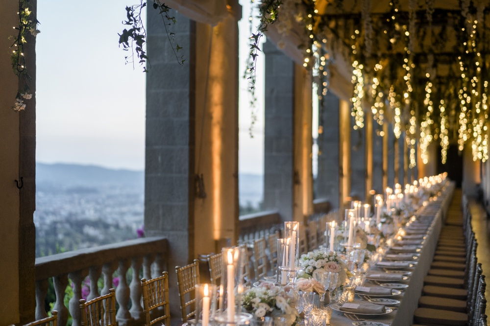 wedding dinner in a villa with florence view