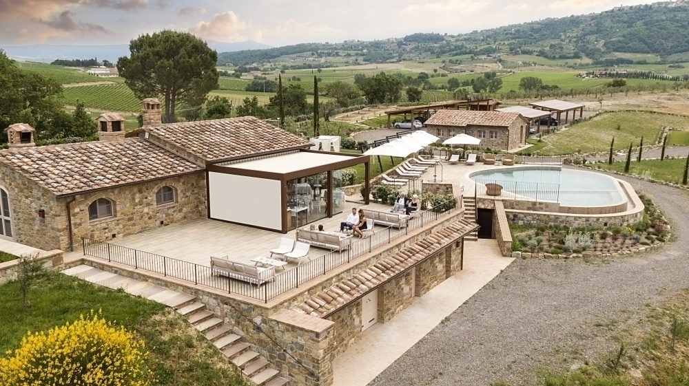 aerial view of a wine resort for weddings