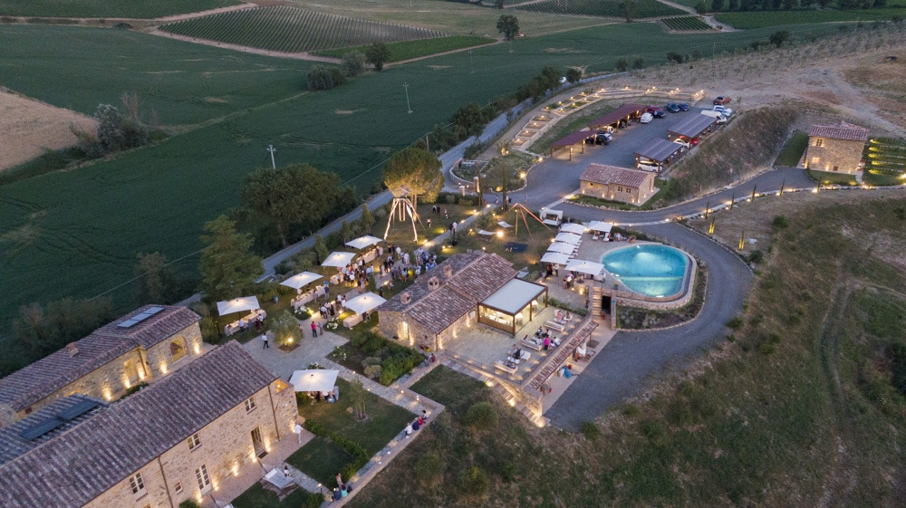 aerial view of the wine resort property in Tuscany