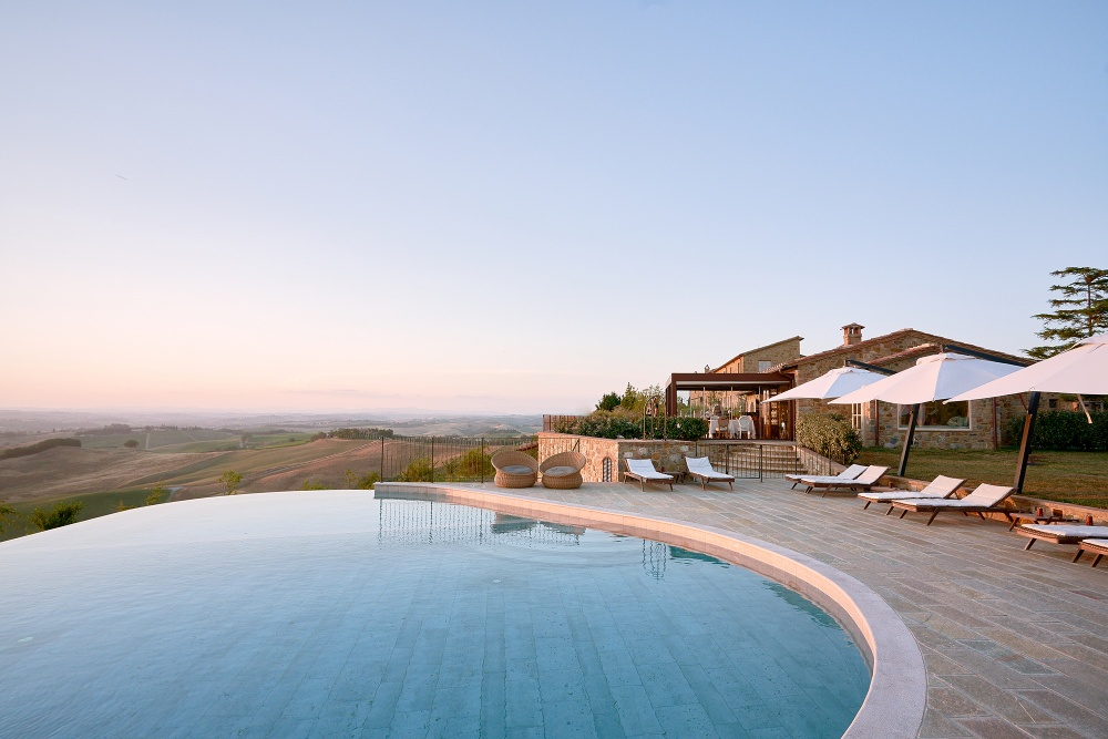 Infinity Pool area in a resort in Tuscany