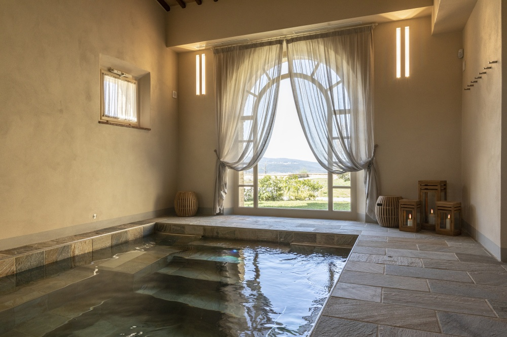 spa area for wedding events in a wine resort in tuscany